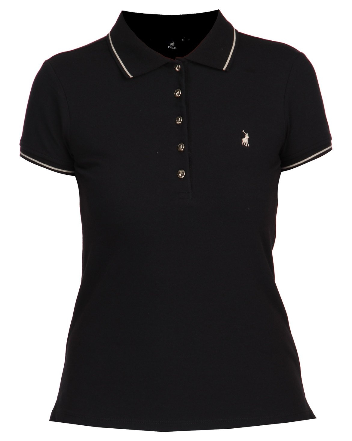 Polo Charlie Short Sleeve Gold Button Stretch Golfer Black
