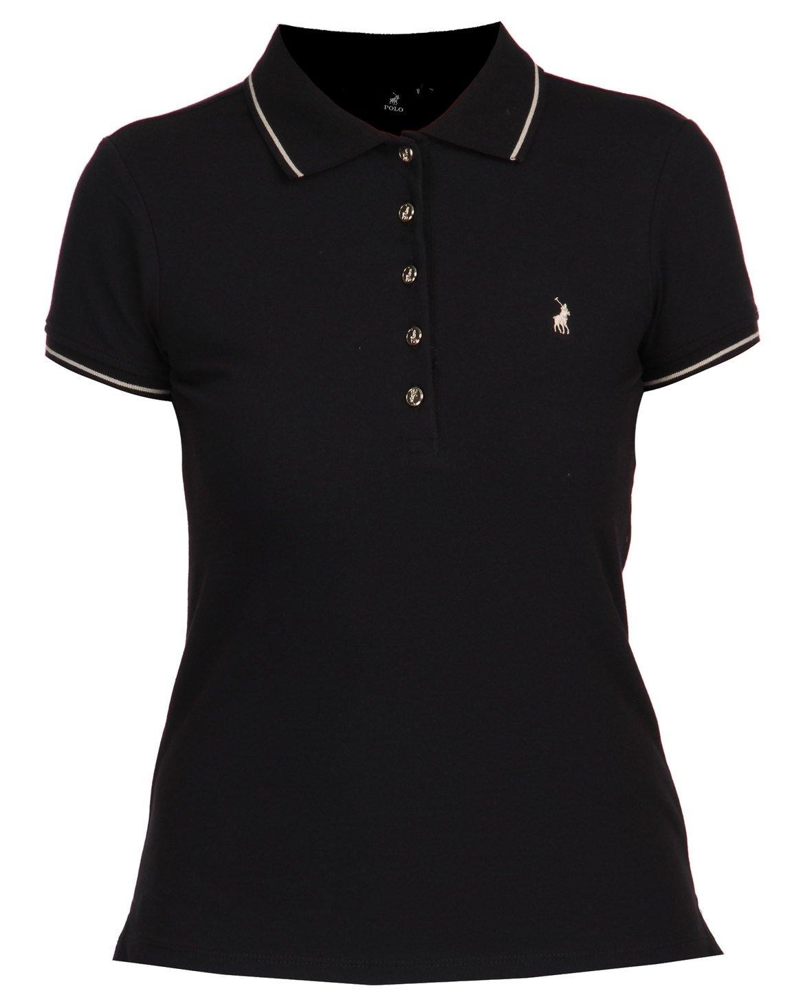 Polo Charlie Short Sleeve Gold Button Stretch Golfer Black – ZALEKA ... bb287d86b93e1